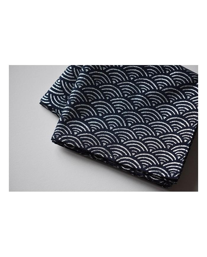 Furoshiki 107 Seigaiha  Blu/argento