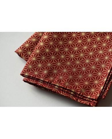 Furoshiki 110 Asanoha rosso e oro