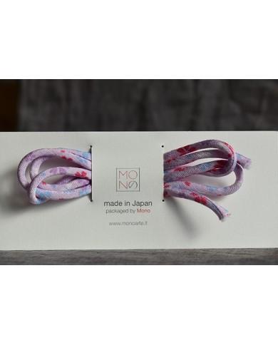 Cordino chirimen lilla con fiori
