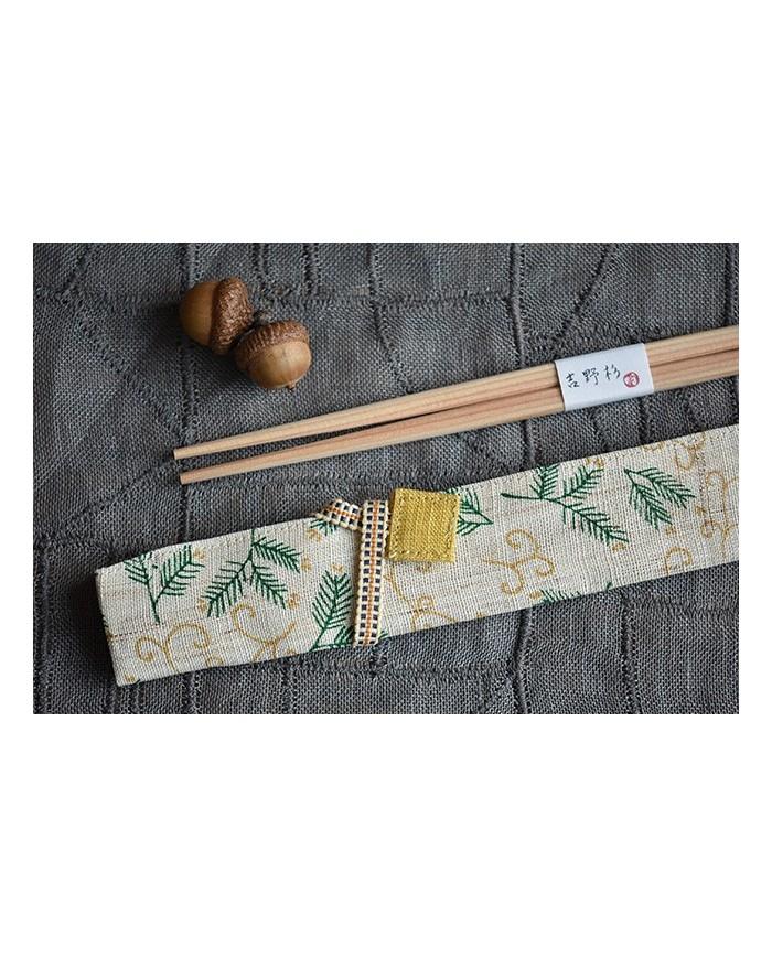 Hashi e porta hashi in tessuto pino