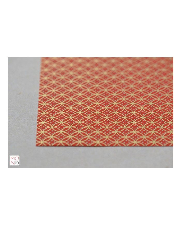 Chiyogami 003 geometrie oro bianco su rosso