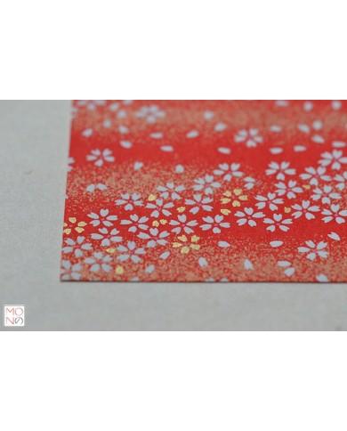 Chiyogami 008 fiori di ciliegio su rosso