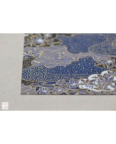 Chiyogami 023 blu oro fiori