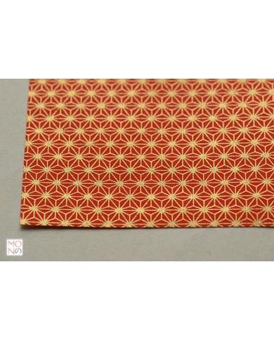 Chiyogami 012 asanoha oro su rosso