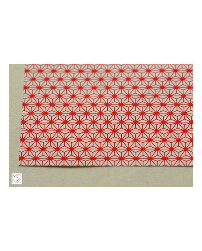 Chiyogami 015 Asanoha rosso su bianco
