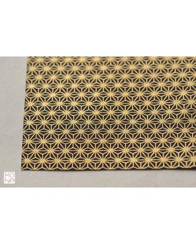 Chiyogami 062 asanoha oro su nero