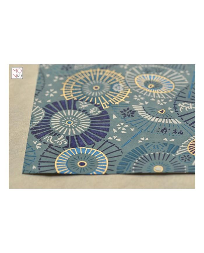 Chiyogami 065 ombrelli azzurri
