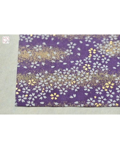Chiyogami 041 fiori ciliegio oro su viola