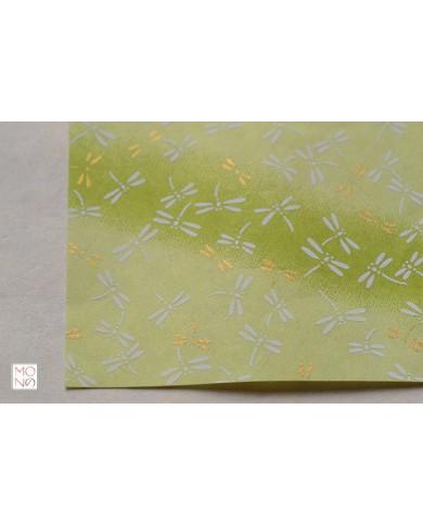 Chiyogami 077 libellula su verde