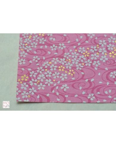 Chiyogami 122 fiori di ciliegio bianco oro su rosa